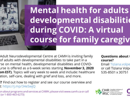 Virtual 6-week Course for Families of Adults with Developmental Disabilities on Mental Health during COVID-19 (available in English only)