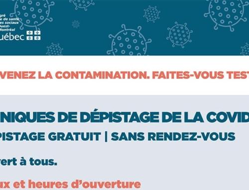 Prévenez la contamination – Faites-vous tester – Cliniques de dépistage de la Covid-19